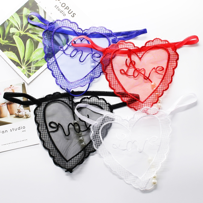 Hot women sexy transparent   panties   Letter Embroidery Mesh Beading seamless underwear Ladies briefs thong G String Femme Lingerie