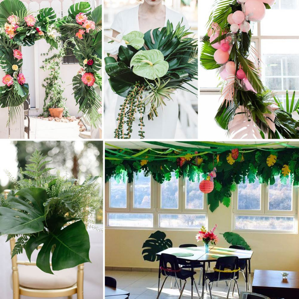 Christmas In Hawaii Party.12pcs Artificial Leaf Tropical Palm Leaves For Hawaii Luau