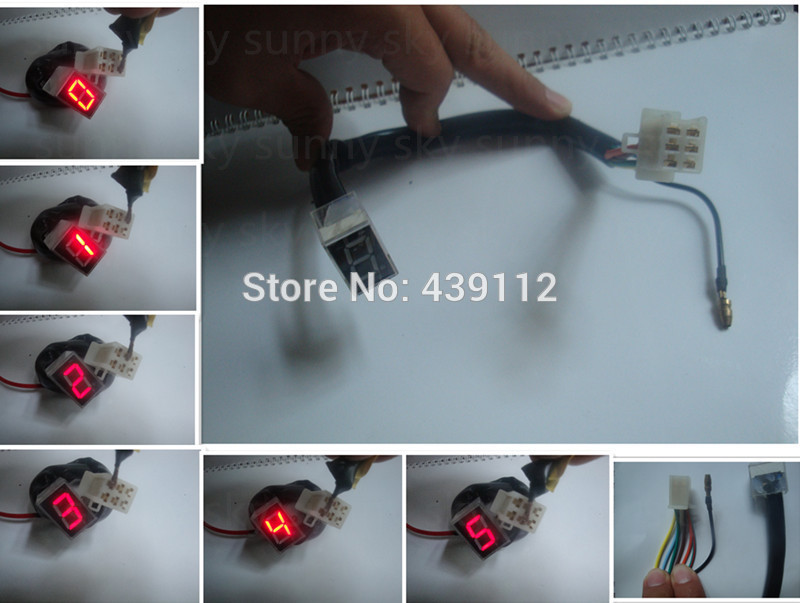 Gratis verzending Nieuwe Rode Led Licht Universele Digitale shift Gear Indicator Motorfiets Uitrusting Indicator 0-5 Display