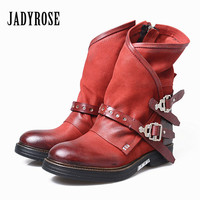 Jady Роза Винтаж красный женские ботильоны с боковой молнией ремни из натуральной кожи короткие боты осень зима женские ботинки martin на платфо