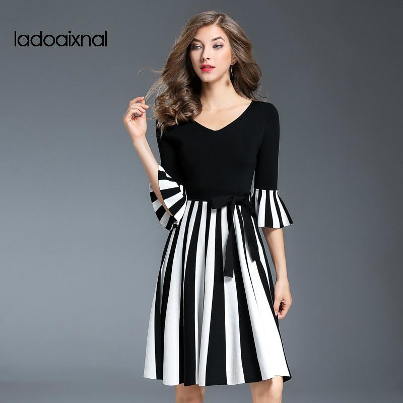 Iadoaixnal 2017 осень новый трикотажные полосатый женский платье V-образным вырезом три четверти рукав пэчворк элегантный платья