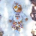 3 Unids/set Algodón Bebé Trajes de Invierno del Otoño Del Bebé Que Arropan los Boy Girl Niños Imprimió el Mameluco Recién Nacido Pijama Conjunto (Camisa + pantalón + Sombrero)