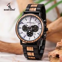 BOBO BIRD Top Brand Wood Men Watch Quartz Wristwatch Wood & Stainless Steel Band Timepieces Chronograph relogio masculino L-P09 все цены