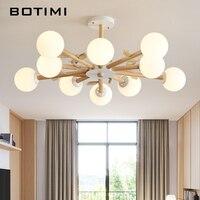 BOTIMI LED Chandelier Lighting For Living Room Modern Chandeliers With Birds Wooden Lustres Foyer Hanging Lighting Glass Lustre