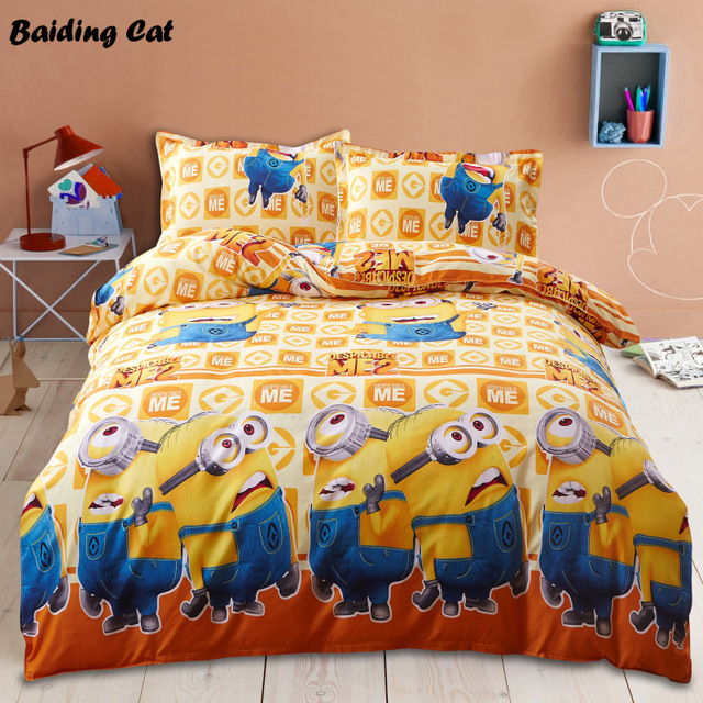 e838f93642b1 Home Textile 3d Minions Bedding Set Cartoon Mickey Mouse Bed Linen 4pcs  Duvet Cover Bed Sheet
