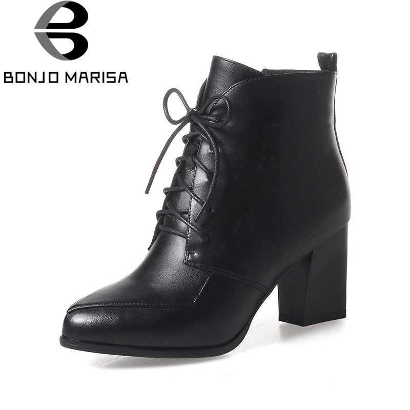 BONJOMARISA Autumn Winter Women Warm Short Plush Ankle Boots Big Size 33-43 Pointed Toe Lace Up Shoes Woman High Chunky Heels blxqpyt new big size 33 50 women high heels ankle short boots autumn winter shoes pointed toe platform knight martin boots 2 5
