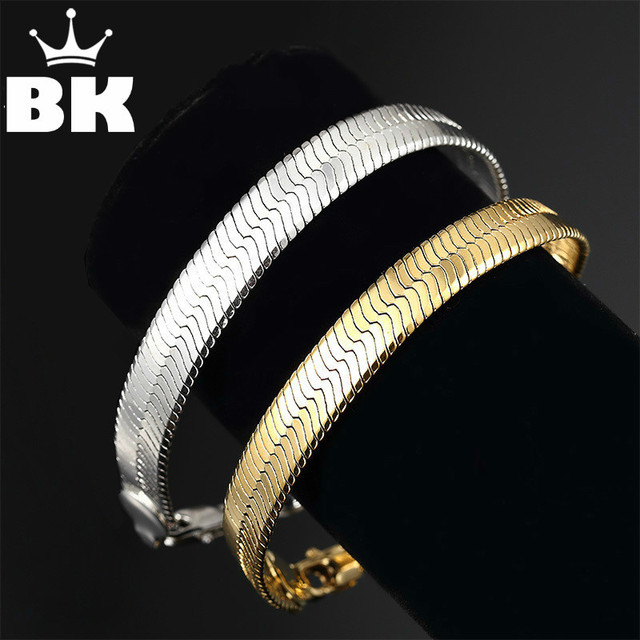 Gold Herringbone Bracelet For Men And Women Fashion Jewellery 21cm Long Chain