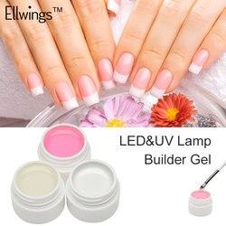 Ellwings 3 Opções de Cores UV Gel Branco Rosa Claro Gel Construtor Estender Extensão Dicas Da Arte do Prego para Gel Unha Polonês cartilha Gel