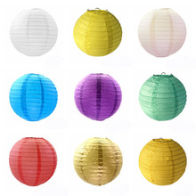 1pc round Chinese paper lanterns birthday wedding decoration party DIY craft built-in wire paper ball hang lamp party supplies(China)