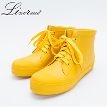 Lizeruee Women Ankle Yellow Rain Boots Rubber Unisex Shoes Girls Lovers Waterproof Oversized 43 W493