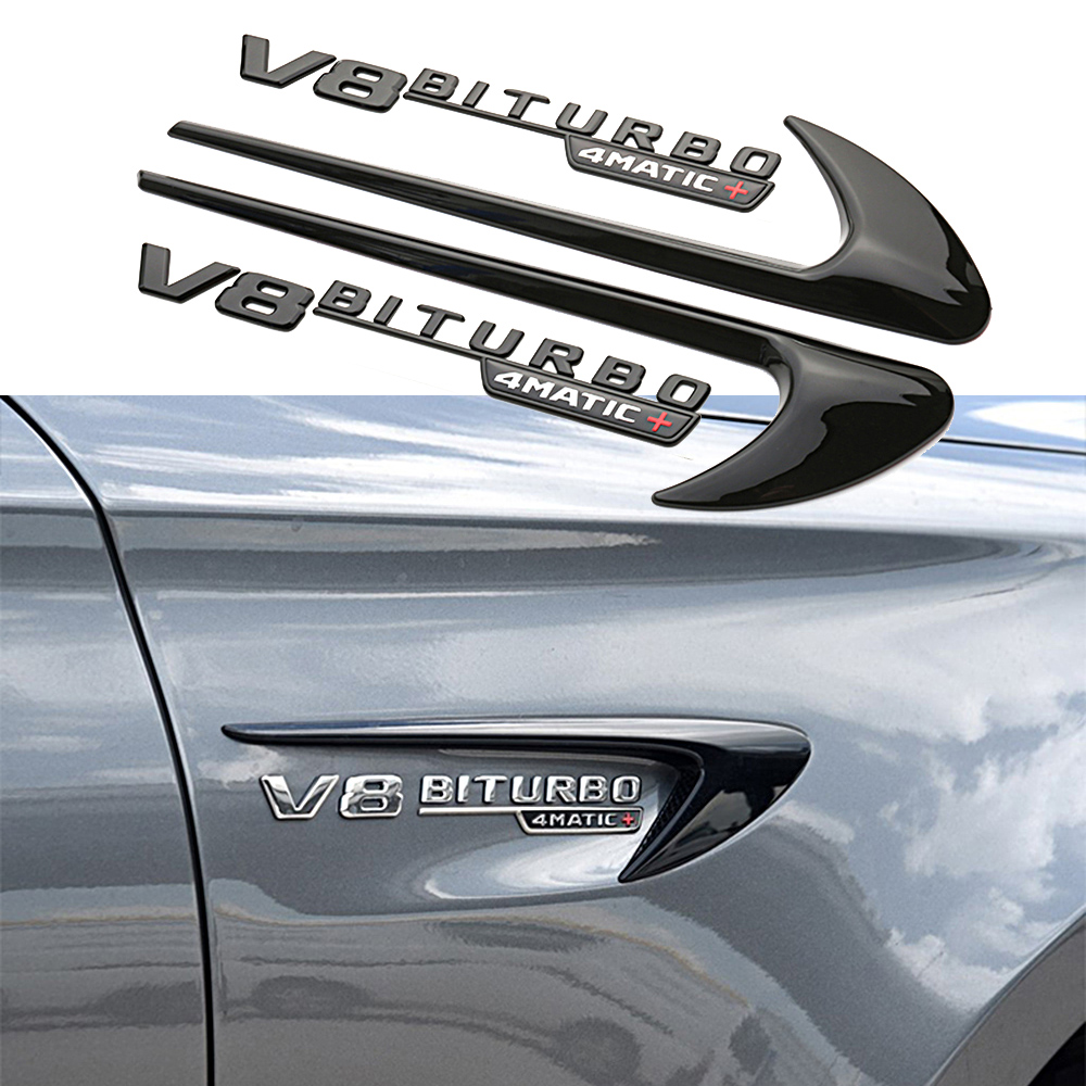 2pcs Fender Wind Vane Air Badge Decor Sticker V8 BITURBO Emblem For Mercedes Benz AMG GT S ML SL Class CLA GLA SLK SLS CLS W220