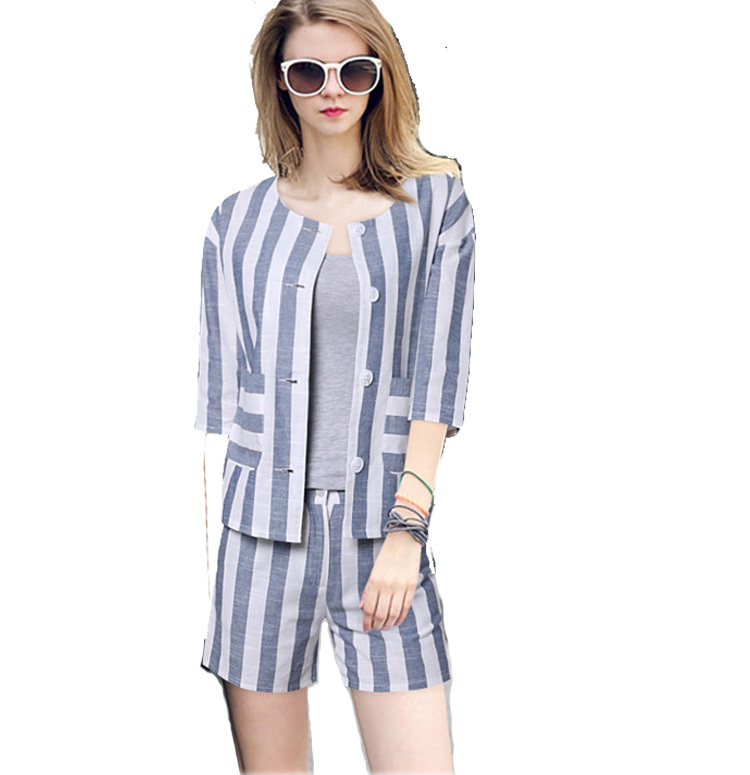 2015 Summer Stripe Women Shorts Sets Womens Shorts Suit 2 Pieces ...