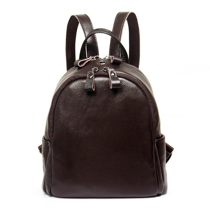 ФОТО 2017 Retro Women's Backpack Brand Designer Genuine Leather Mini Bagpack For Teenage Girls Vintage Black Brown Shoulder bag