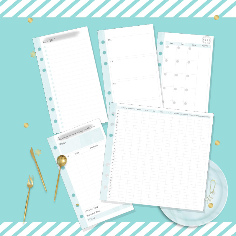 Dokibook Christmas Snowflake Notebook Schedule Filler Papers for A5 A6 A7 Weekly Monthly Planner notebook Diary filofax planner compatible projector lamp sp lamp 016 bulb for lp850 lp860