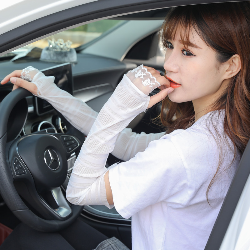 Summer Thin Section Lace Sunscreen Sleeves Female Ice  Riding DrivingSports  Anti UV Outdoor Arm Warms
