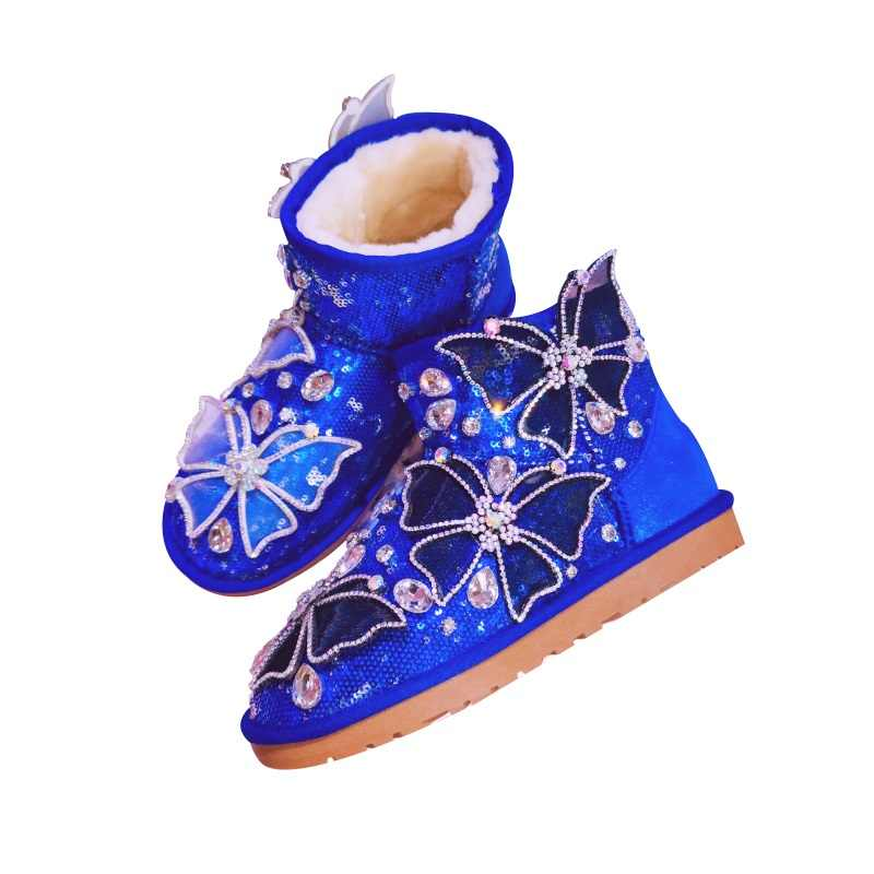 Glitter Sequins ข้อเท้ารองเท้าบูทสำหรับสุภาพสตรี Warm ฤดูหนาวรองเท้าผู้หญิงคริสตัล Rhinestone หิมะ Lady แบนฤดูหนาวรองเท้า Botas mujer