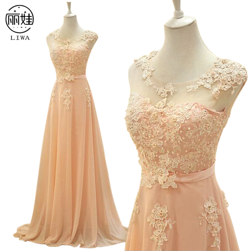 Chiffon Floor-length Tank Bridesmaid Dresses Sleeveless Lace Vestido Madrinha Longo Floor-length Slmple Party Dress LF36