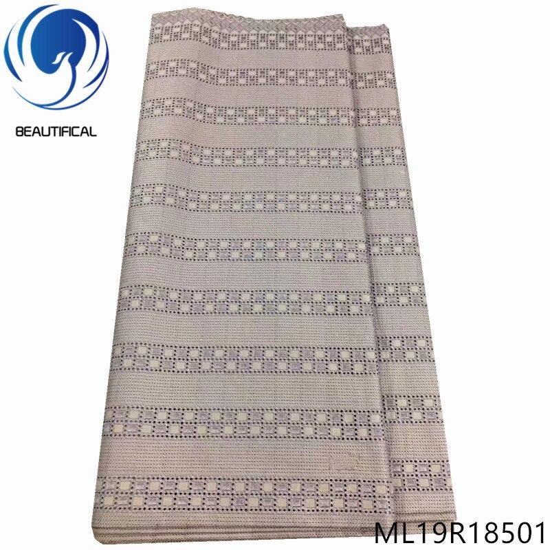 Beaux tissus en dentelle de coton 5 yards/lot dernier style dentelle polonaise tissu pour hommes vêtements nigérian suisse voile dentelle ML19R185