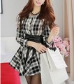 O-neck Plaid Women Autumn Short Ball Gown Dress Long Sleeve Grid Lovely Elegant Female Ladies Girl Mini Dress Wide Belt