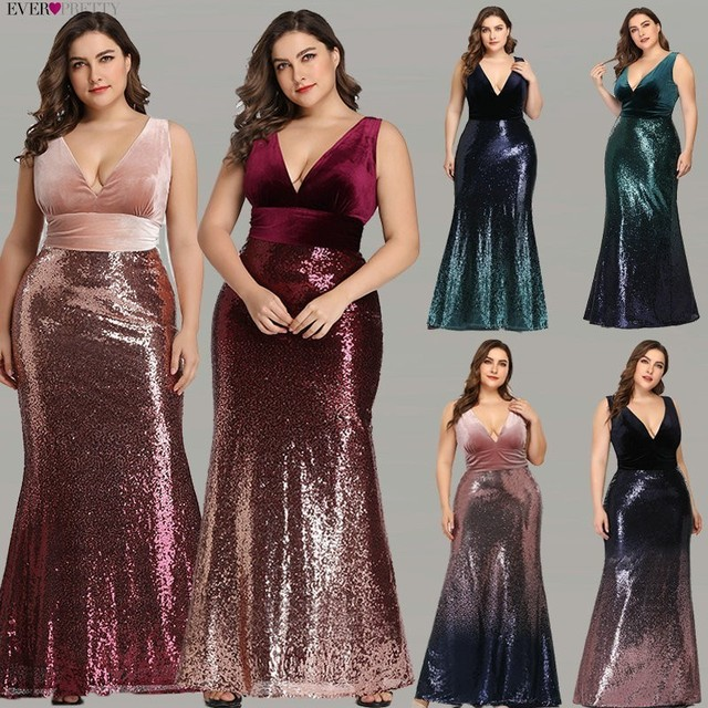 Plus Size Evening Dresses Long Ever Pretty Sexy V-Neck Sleeveless Sequined Burgundy Blush Pink Vintage Mermaid Party Gowns 2