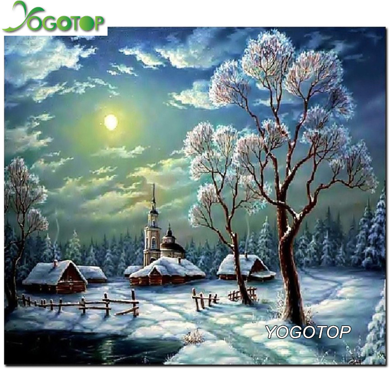 5D Diy Diamond Painting Kit Round Diamond Rhinestones Cross Stitch Kit Diamond Embroidery Mosaic Snow tree Needlework XC386