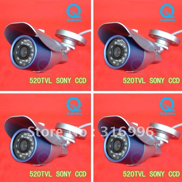 4 Pcs Promotion Cheap  520TVL 1/3''Sony CCD Video IR Outdoor CCTV Security Camera System AS08-5