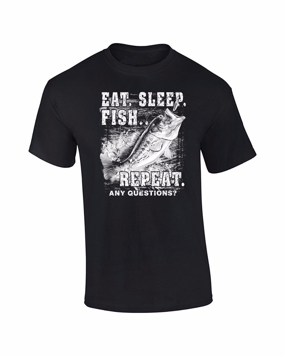 Printed T-Shirts Boys Top Tee Shirt Cotton New Metal Short Sleeve Casual Shirt Fishings T-Shirt Eat Sleep Fish Repeat T Shirt