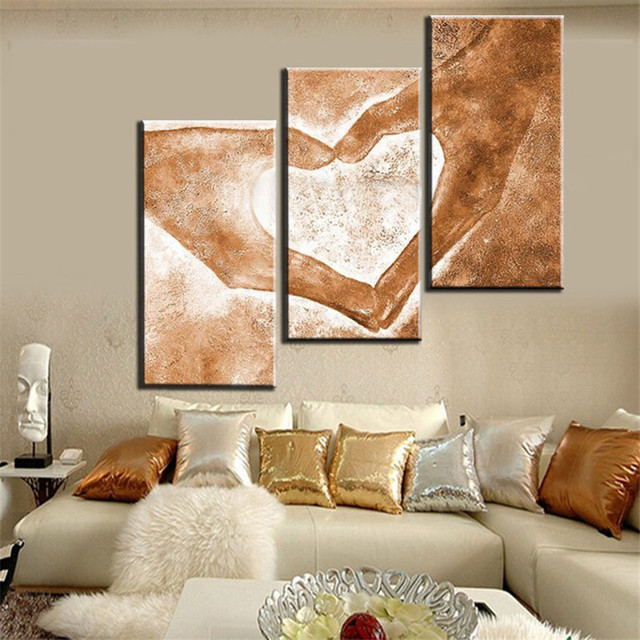 Hand Painted 3pcs Modern Abstract Oil Paintings Love Heart Drawing By Hands  Canvas Art Living Room Part 36