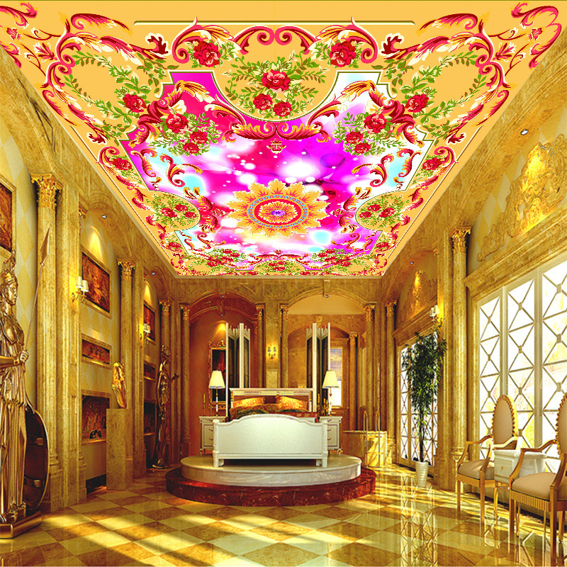 3D customized colorful and beautiful ceiling wallpaper floral painting non-woven waterproof mural home improvement wall covering