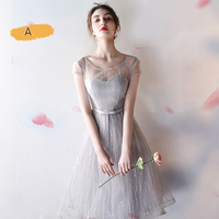 CLARISBELLE 2017 Short Dress A Line Lace Sweet V Neck Tulle Long Sleeveless Bridal Gown Vestidos