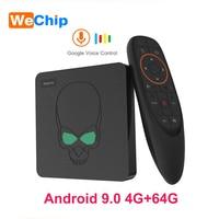 Оригинальный GT King Android 9,0 tv Box LPDDR4 4G 64G голосовой пульт дистанционного управления S922X четырехъядерный 2,4G & 5,8G Wifi 1000 M BT 4,1 VP9 4 K телеприставка