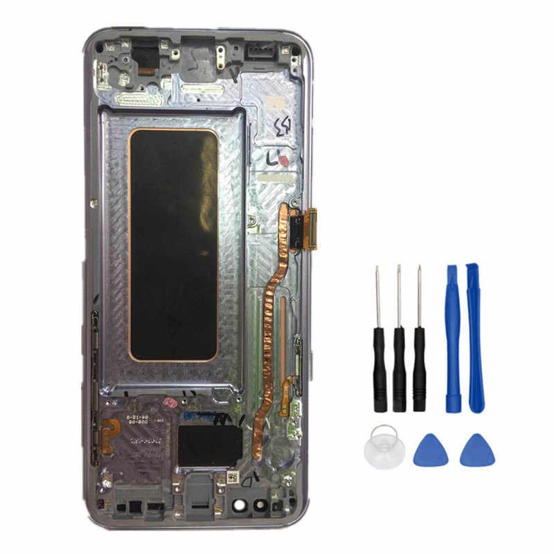 Piezas de reparación de trabajo de 100% para Samsung Galaxy S8 Plus G955 G955FLCD pantalla + pantalla táctil con montaje de digitalizador de Marco + herramientas