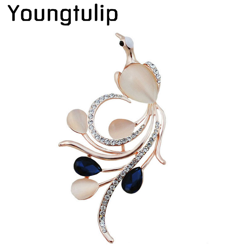 Young Tulip Opal and CZ Rhinestone <font><b>Phoenix</b></font> Brooches for Women Navy Blue Color Bird Pins and Brooches Fashion Wedding Brooches