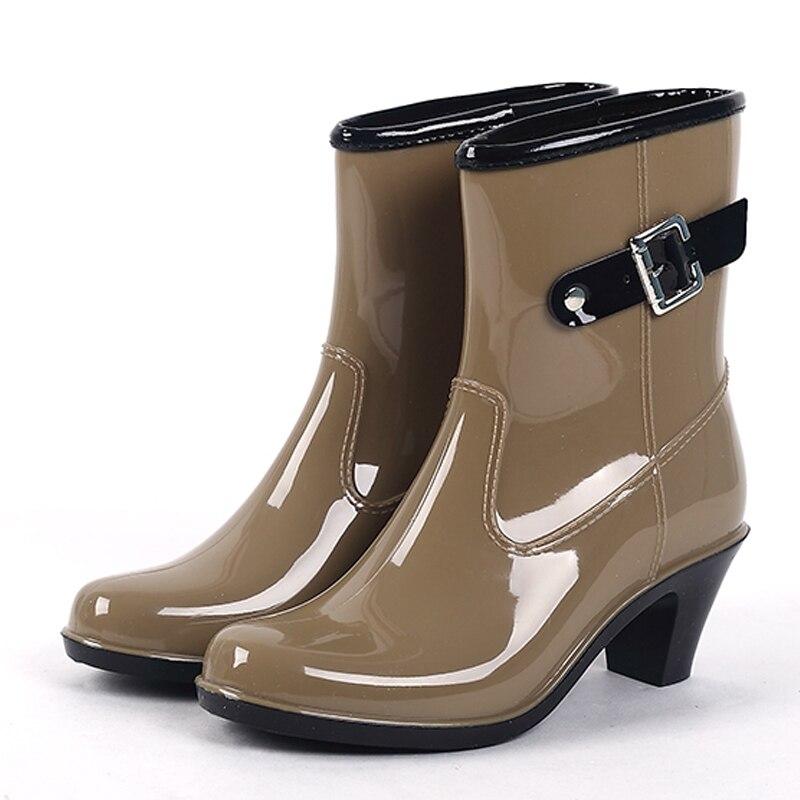 Waterproof Shoes Ankle Rubber Rain Boots Women High Heel Rainboots Plus Size Botines Mujer Femininas Botas