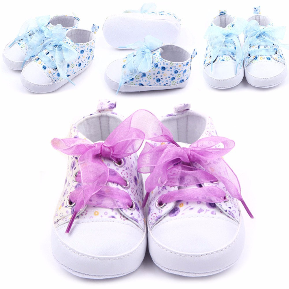 HOT Baby Shoes Flower Ribbon Baby Girl Sneaker Lace Up Soft Sole Prewalkers 2