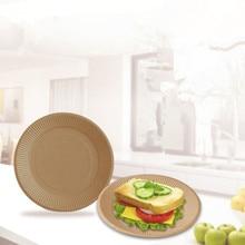 50 шт./упак. одноразовая Толстая крафт-бумажная пластина форма для кекса, десертная тарелка для барбекю вечерние принадлежности