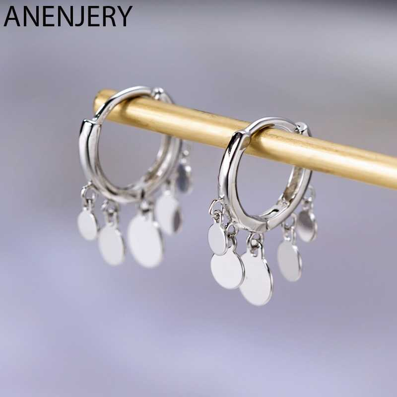 Anenjery Ins Round Disc Tassel Earrings For Women 925 Sterling Silver Earrings oorbellen pendientes 2019 New Trendy S-E893