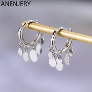 Anenjery Ins Round Disc Tassel Earrings For Women 925 Sterling Silver Earrings oorbellen pendientes 2019 New Trendy S-E893(China)