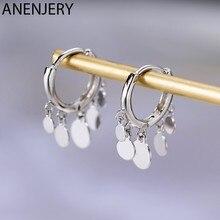 Anenjery Ins yuvarlak disk püskül küpe kadınlar için S925 damga gümüş renk küpe oorbellen pendientes hediye S-E893