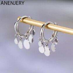 Anenjery Ins Round Disc Tassel Earrings For Women S925 Stamp Silver Color Earrings oorbellen pendientes Gift S-E893