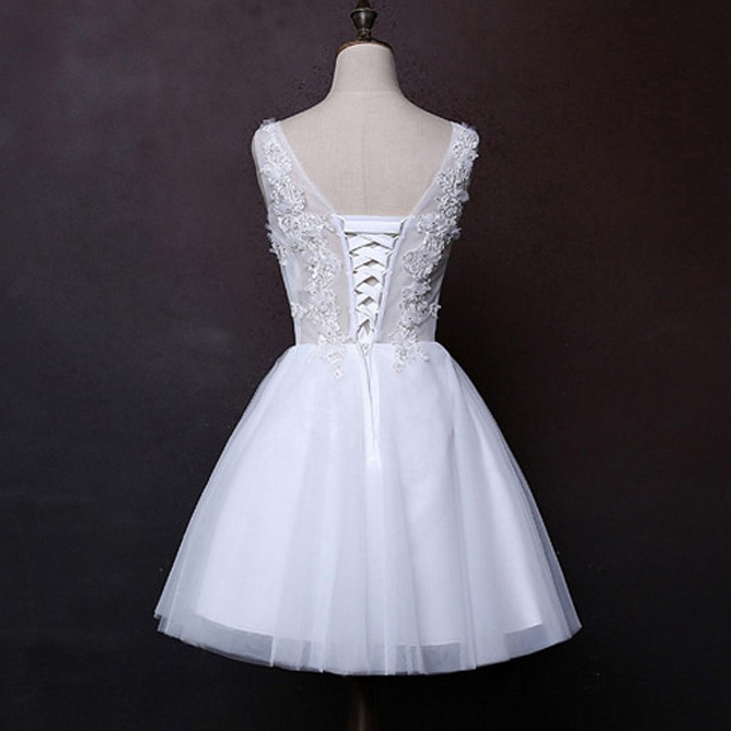 Elegant White Lace Short Wedding Dress