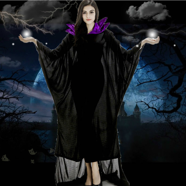 c153c3be7b2 US $23.91 8% OFF|maleficent costume adult women cosplay gothic victorian  halloween costumes hoodie witch costume for women plus size fancy dress-in  ...