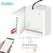 Aqara módulo de controle bidirecional original, controlador sem fio de relé, 2 canais, funciona para o aplicativo de telefone smart home
