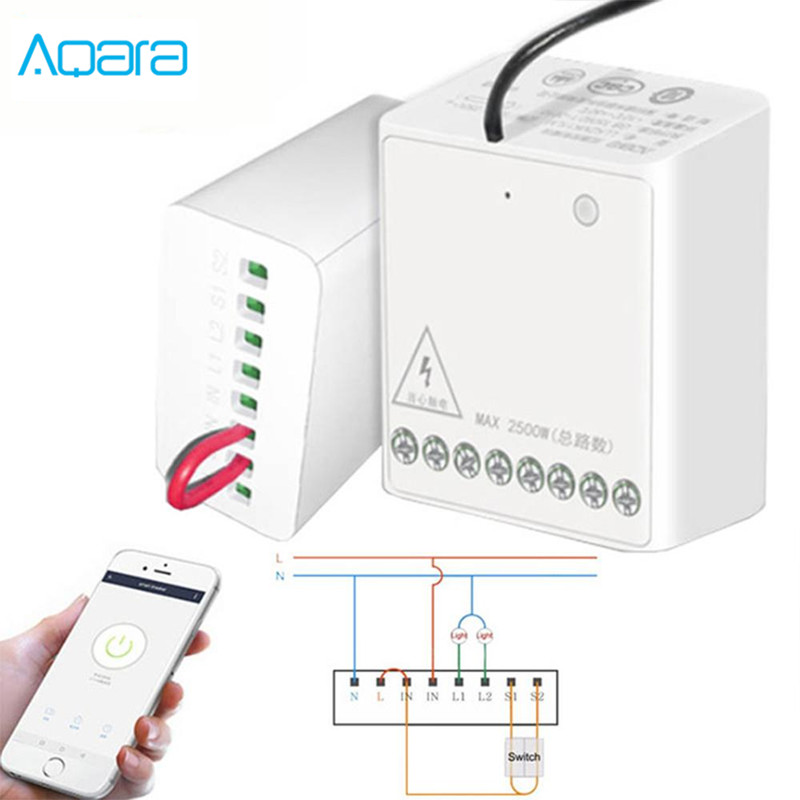 Original Xiaomi Mijia Aqara Two-way Control Module Wireless Relay Controller 2 Channels Work For Mijia APP Smart Home