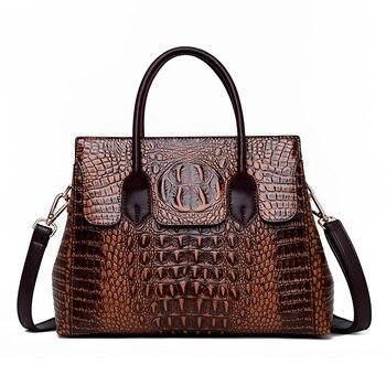 2019 ใหม่จระเข้กระเป๋าถือหรูผู้หญิงออกแบบกระเป๋า Vintage กระเป๋าถือหนังผู้หญิง Retro กระเป๋าสะพาย sac a ...