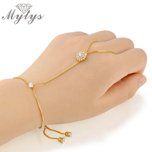 Mytys Gold High Quality Palm Bracelet Connected With Ring Free Size