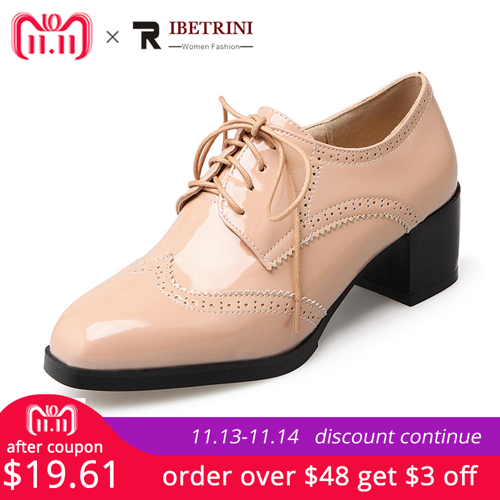 RIBETRINI Plus Size 32-47 Women British Oxfords Patent PU Leather Brogue Shoes Woman Lace Up Heels Square Toe Loafer Footwear globe shaped aluminum shell precise compass