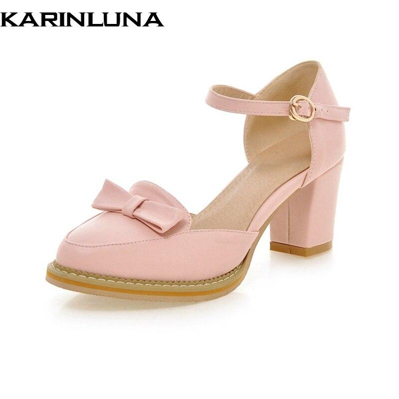 KarinLuna kualitas perempuan ankle strap padat tumit persegi sepatu - Sepatu Wanita - Foto 1