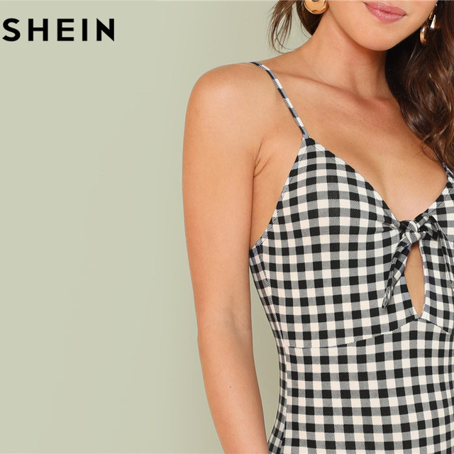 SHEIN Sleeveless Spaghetti Strap Sexy Backless Summer Women Bodysuits Mid Waist Deep V Plaid Cut Out Knot Skinny Cami Bodysuit 3