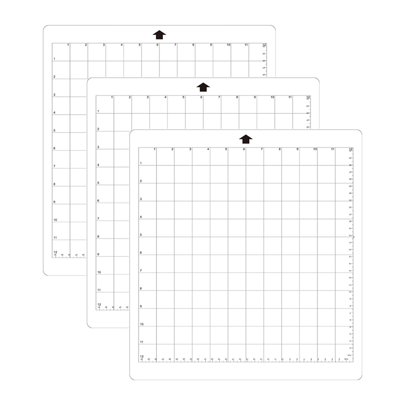 ELEG-3Pcs Replacement Cutting Mat Transparent Adhesive Mat With Measuring Grid 8 By 12-Inch For Silhouette Cameo Plotter Machi